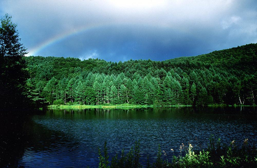 御射鹿池(みしゃかいけ)に架かる虹